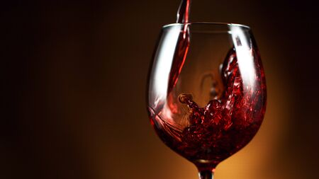 Photo for Detail of pouring red wine into glass, dark gradient background. Free space for text - Royalty Free Image
