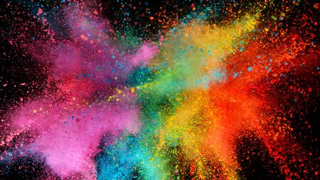 Photo for Explosion of colored powder isolated on black - Royalty Free Image