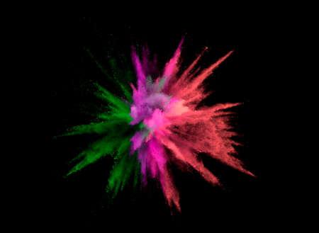 Photo pour Abstract coloured powder explosion on black background - image libre de droit