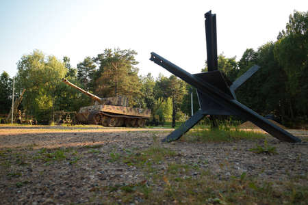 Snegiri village, Istra district, Moscow region, June 26, 2020. German battle tank 510th heavy tank battalion in 2nd World War Tiger, Panzerkampfwagen VI Ausf E under the trees.