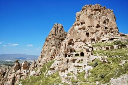 Amazing view of Uchisar castle in Cappadocia, Turkey