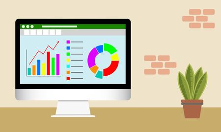 Photo pour Vector illustration of Data Analytics on  computer screen. Analytical dashboard concept. Financial accounting, big data analysis, audit, project management, marketing, search engine optimization. - image libre de droit