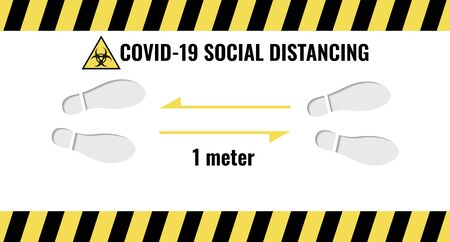 Illustration for Social Distance 1 meter for prevention of spreading the infection in Covid-19 Outbreak. Vector illustration of 2 people icon with 1 meter distance concept and stop spreading coronavirus pandemic - Royalty Free Image