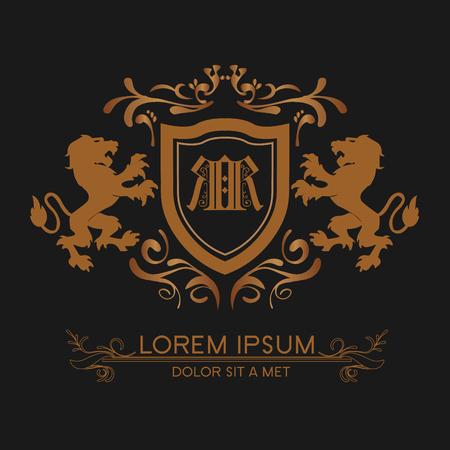Illustration pour luxury logo gold with lions - image libre de droit