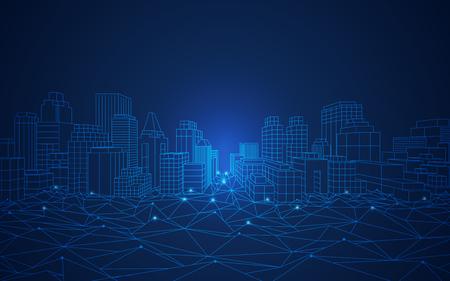 Illustration pour wireframe cityscape in futuristic style - image libre de droit