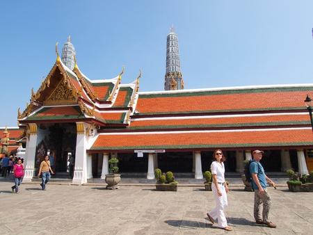 BANGKOK THAILAND - December 29:Tourist and visitors admiring the beautifully decorated Buddhist temples, Bangkok Thailand.