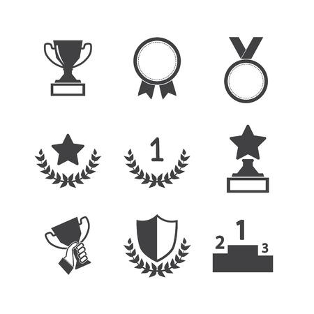 Illustration pour Trophy and awards icons set - image libre de droit