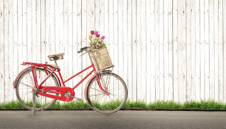 Photo for bicycle vintage with bouquet flower concept of love in summer and wedding honeymoon, white wood background - Royalty Free Image