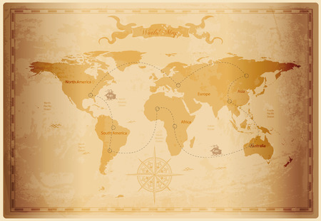 Old World map with vintage paper texture vector format