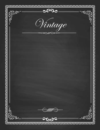 Foto de vintage frames, blank black chalkboard design - Imagen libre de derechos