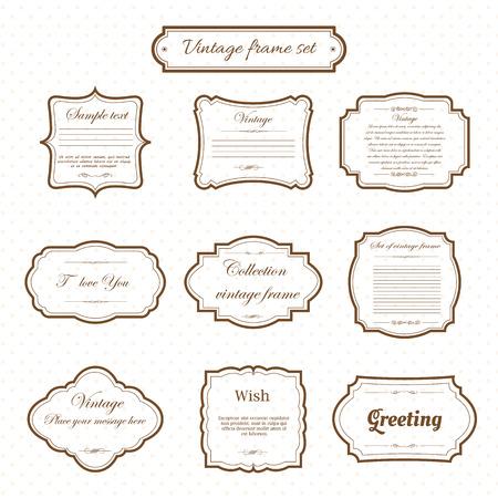 Illustration pour Vector of vintage frame set on pattern retro background. Calligraphic design elements. - image libre de droit