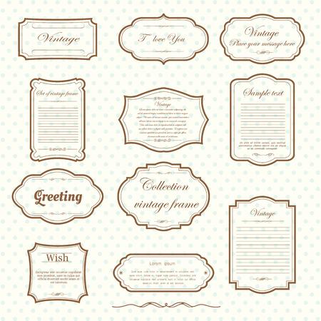 Illustration pour Vecter of vintage frame set on pattern retro background. Calligraphic design elements. - image libre de droit