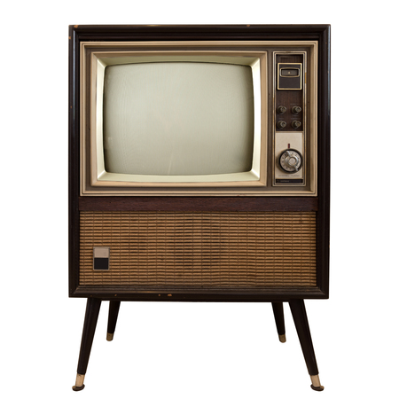 Foto de Vintage television - old TV isolate on white ,retro technology - Imagen libre de derechos
