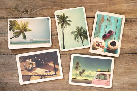 Foto de Summer photo album on wood table. instant photo of  camera - vintage and retro style - Imagen libre de derechos