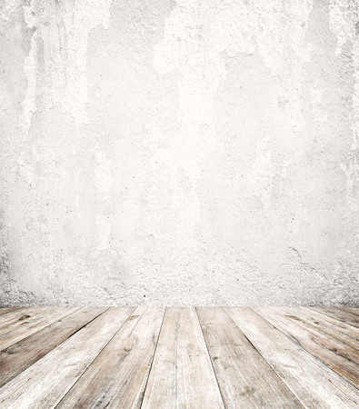 Foto de Empty a white interior of vintage room - gray grunge concrete wall and old wood floor. Realistic 3d as perfect background for your concept or project. - Imagen libre de derechos
