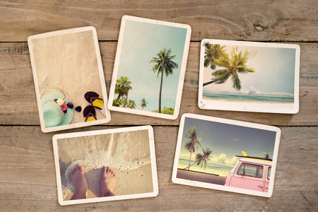 Foto de Photo album remembrance and nostalgia journey in summer surfing beach trip on wood table. instant photo of vintage camera - vintage and retro style - Imagen libre de derechos