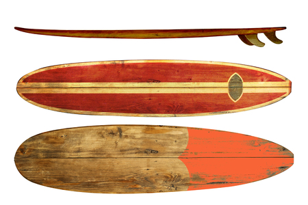 Foto de Vintage surfboard isolated on white - Retro styles 60's - Imagen libre de derechos