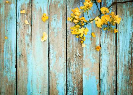 Foto de Yellow flowers on vintage wooden background, border design. vintage color tone - concept flower of spring or summer background - Imagen libre de derechos
