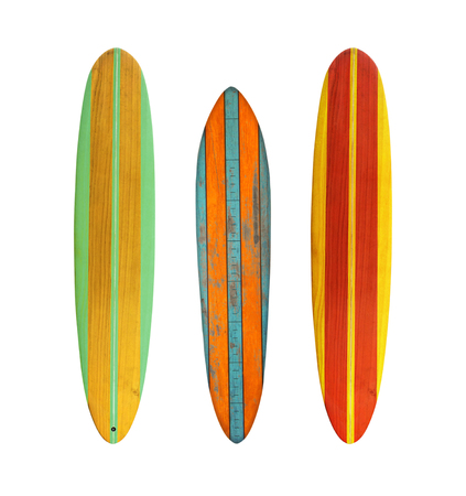 Photo pour Vintage wood surfboard isolated on white with clipping path for object, retro styles. - image libre de droit