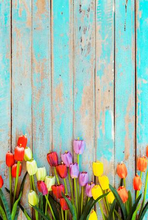 Photo for Tulip blossom flowers on vintage wooden background, border  frame design. vintage color tone - concept flower of spring or summer background - Royalty Free Image