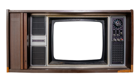 Photo pour Vintage television - Old TV with frame screen isolate on white with clipping path for object, retro technology  - image libre de droit