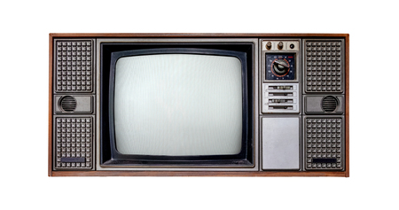 Photo pour Vintage television - Old TV  isolate on white with clipping path for object. retro technology - image libre de droit