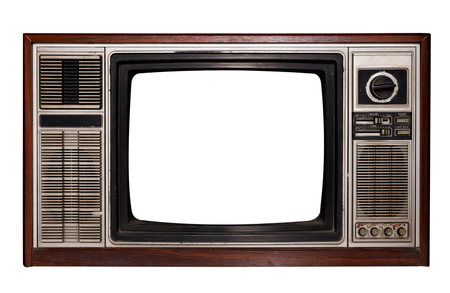 Foto per Vintage television - Old TV with frame screen isolate on white with clipping path for object, retro technology - Immagine Royalty Free