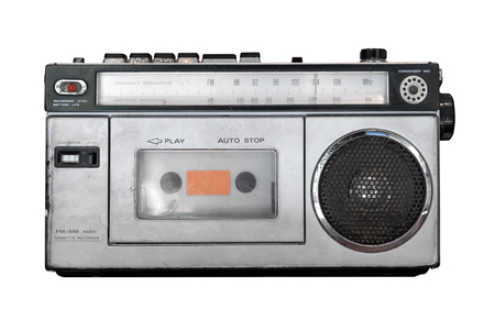 Photo for Vintage cassette player - Old radio receiver isolate on white with clipping path for object. retro technology - Royalty Free Image