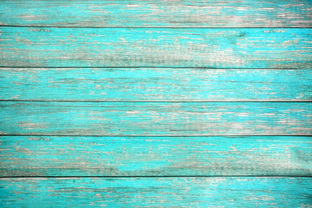 Foto de Vintage beach wood background - Old weathered wooden plank painted in turquoise or blue sea color. hardwood floor - Imagen libre de derechos