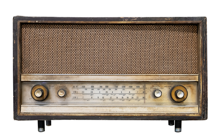 Foto de Vintage radio receiver - antique wooden box radio isolate on white with clipping path for object, retro technology - Imagen libre de derechos