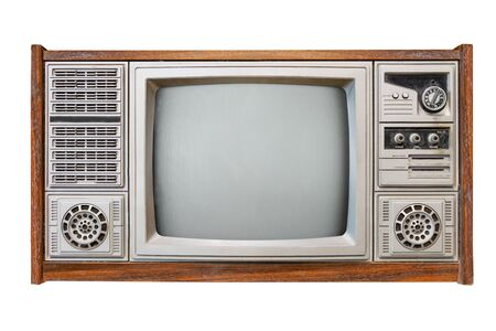 Photo pour Vintage tv - antique wooden box television isolated on white with clipping path for object. retro technology - image libre de droit