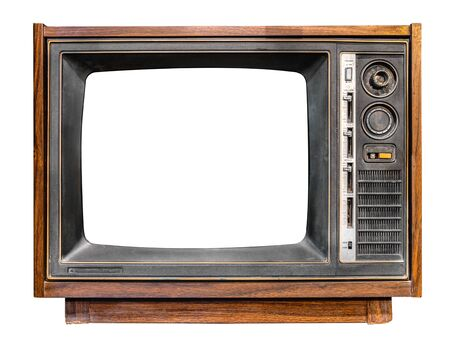 Foto de Vintage television - antique wooden box television with cut out frame screen isolate on white with clipping path for object, retro technology - Imagen libre de derechos