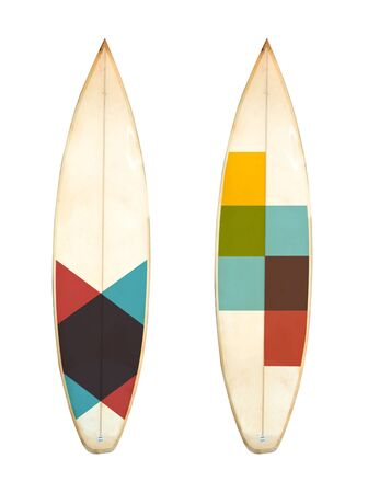 Photo for Retro foam short board surfboard isolated on white with clipping path for object, vintage styles. - Royalty Free Image