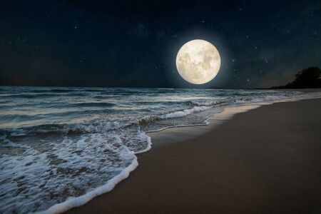 Photo pour Beautiful nature fantasy - romantic beach and full moon with star. Retro style with vintage color tone. Summer season, honeymoon in night skies background concept. - image libre de droit