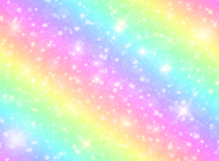 Vector illustration of galaxy fantasy background and pastel color.The unicorn in pastel sky with rainbow. Pastel clouds and sky with bokeh.