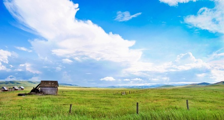 Beautiful prairie landscape with old barn in Alberta, Canada