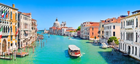 Panoramic view of famous Canal Grande in Venice, Italy