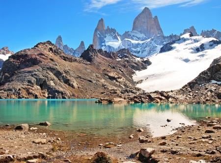 Mountain landscape with Mt Fitz Roy and Laguna de Los Tres in Los Glaciares National Park, Patagonia, Argentina, South America
