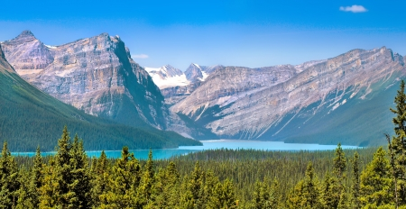 Canadian wilderness with Rocky Mountains in Jasper National Park, Alberta, Canada