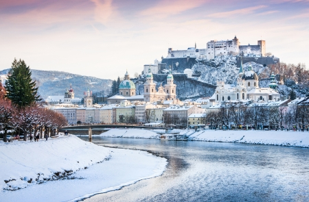 Photo for Beautiful view of Salzburg skyline with Festung Hohensalzburg and river Salzach in winter, Salzburger Land, Austria - Royalty Free Image