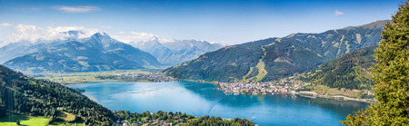 Panoramic view of the city of Zell am See with Zeller Lake in Salzburger Land, Austria