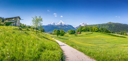 Photo for Panoramic view of idyllic summer landscape in the Alps - Royalty Free Image