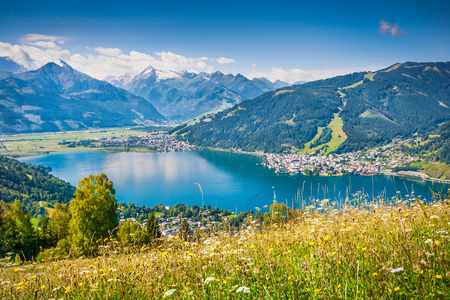 Beautiful mountain landscape in the Alps with Zeller Lake in Zell am See, Salzburger Land, Austria