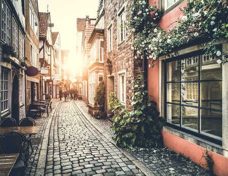 Photo pour Old town in Europe at sunset with retro vintage filter effect - image libre de droit