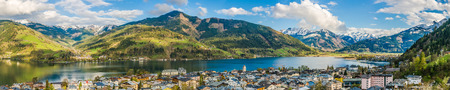 Panoramic view of beautiful mountain landscape in the Alps with Zeller Lake in Zell am See, Salzburger Land, Austria