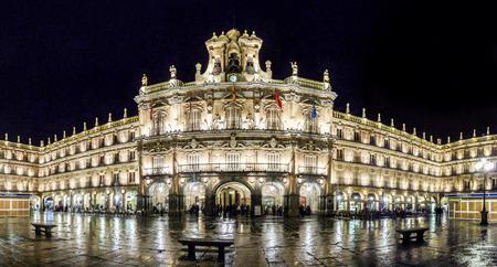 Famous Plaza Mayor in Salamanca at night, Castilla y Leon, Spain