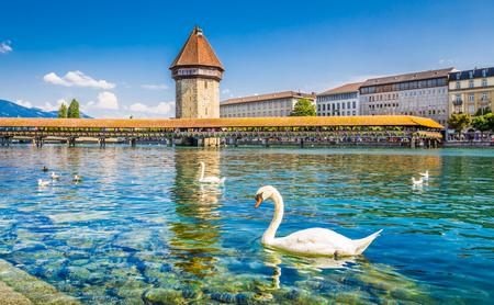 Historic city center of Lucerne with famous Chapel Bridge