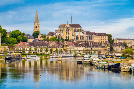Beautiful view of the historic town of Auxerre with Yonne river, Burgundy, Franceの写真素材