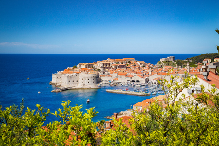 Panoramic aerial view of the historic town of Dubrovnik, one of the most famous tourist destinations in the Mediterranean Sea