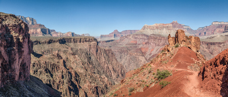 Panoramic view of South Kaibab Trail descending